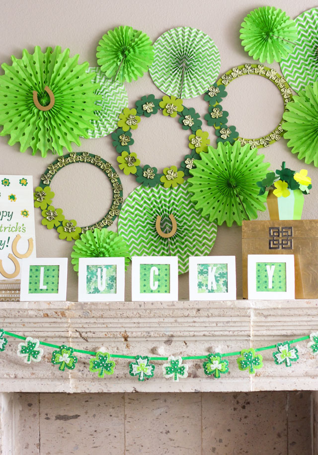 Shamrock-Filled St. Patrick's Day Mantel