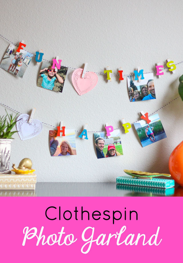 How to Make a Clothespin Photo Garland