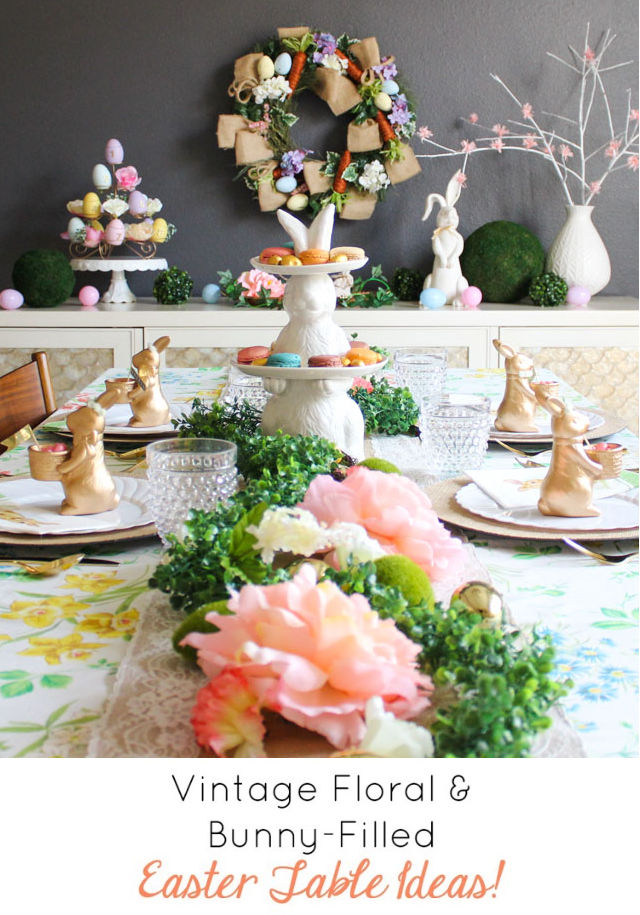Vintage Floral and bunny beautiful table ideas