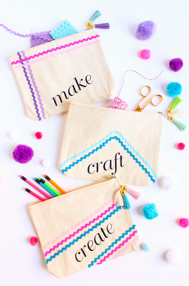 DIY Rickrack Decorated Craft Pouches
