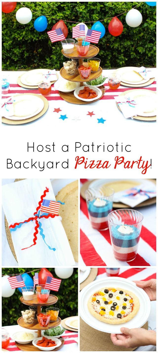 Host a backyard grilled pizza party this memorial day! #memorialdaybbq #backyardparty #pizzaparty #fourthofjulyparty