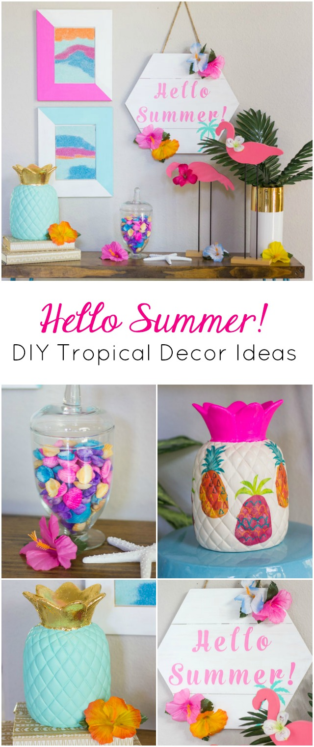 Simple tropical decor crafts and summer decorating ideas! #summerdecor #summercrafts #pineapplecrafts