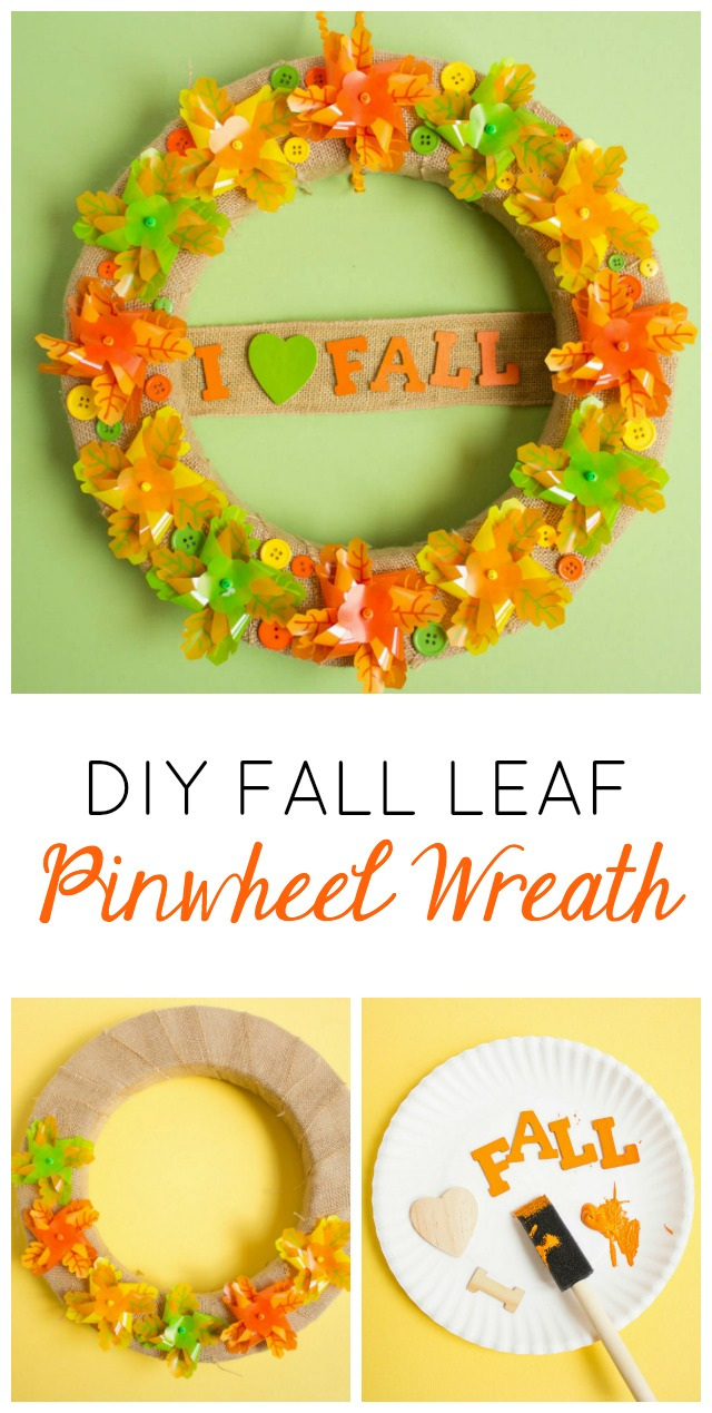 Make this fall leaf pinwheel wreath to express your love for all things fall! #fallwreath #pinwheelwreath
