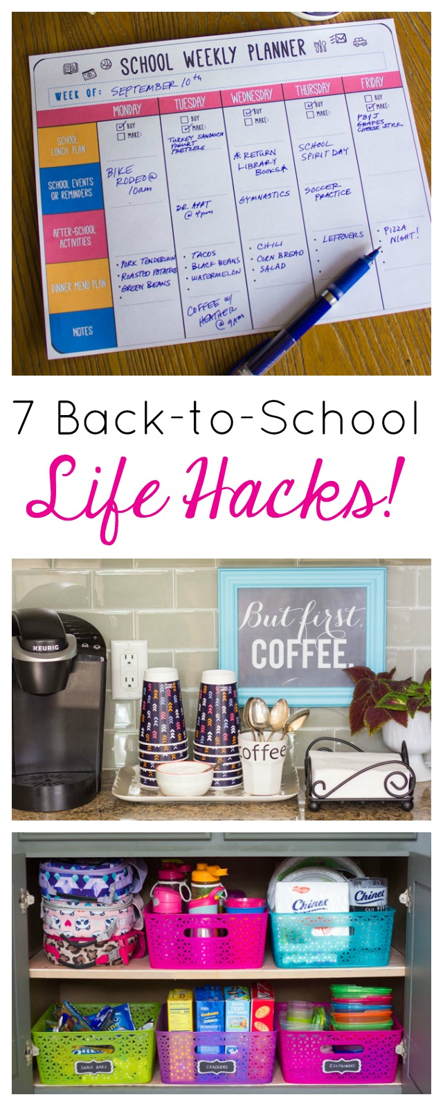 These 7 back-to-school life hacks will streamline your morning routine! #backtoschool #lifehacks #backtoschoolhacks