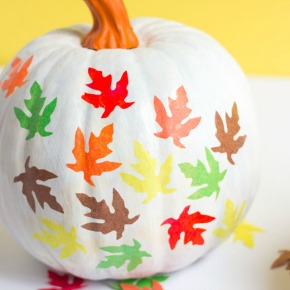 These pretty fall leaf pumpkins use tissue paper leaves and Mod Podge - so easy!