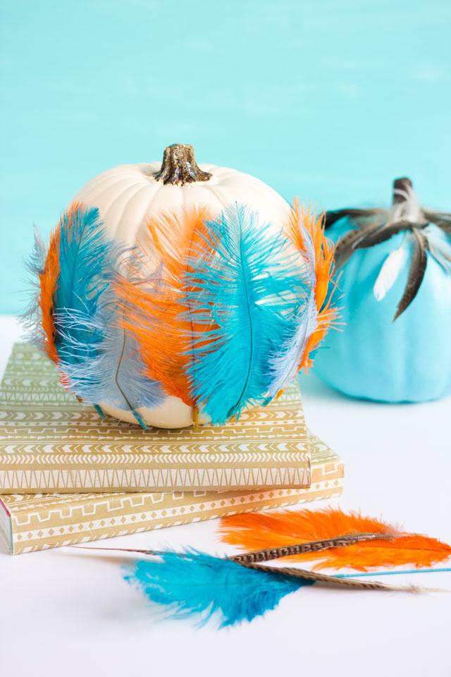How to decorate feathers with pumpkins #pumpkinideas #pumpkins #featherpumpkin