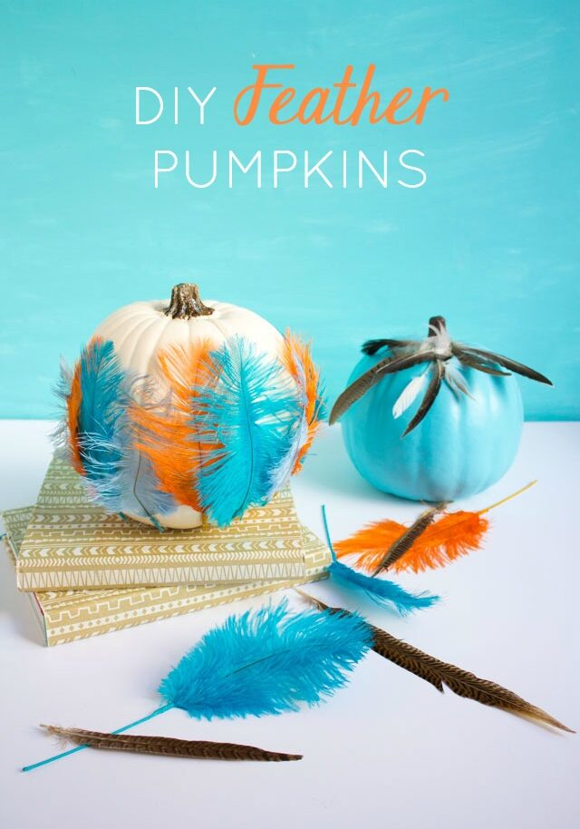 Pumpkin Week: Feather Pumpkins