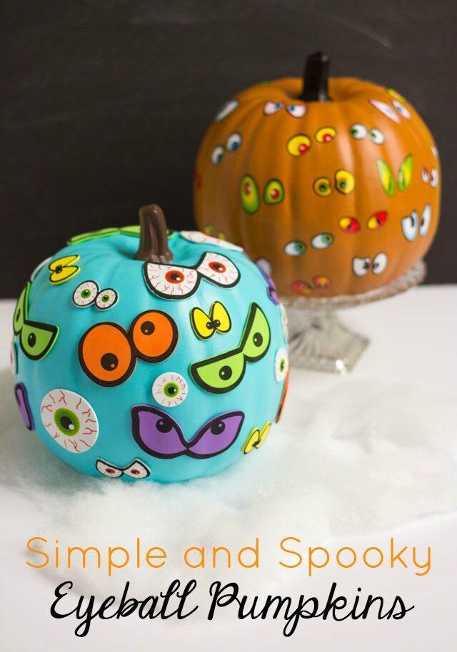 Simple and spooky eyeball pumpkins