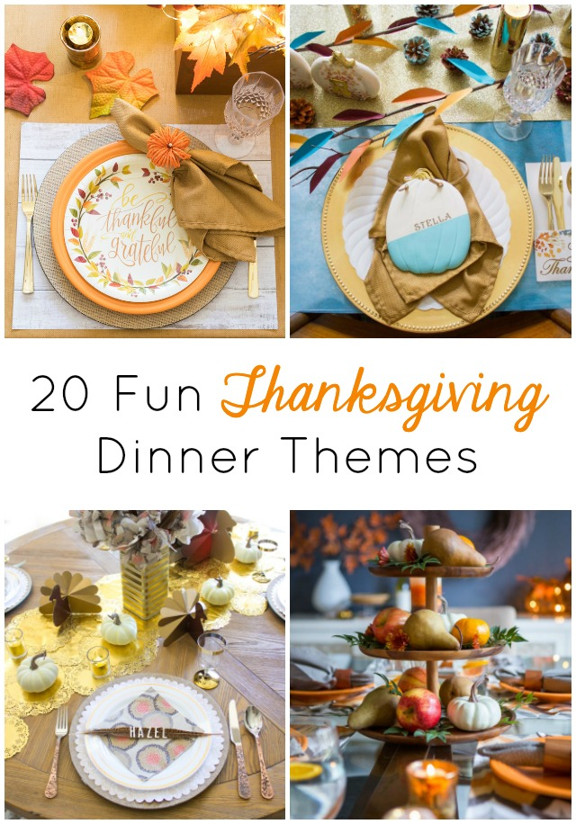 This picture shows different Thanksgiving table themes