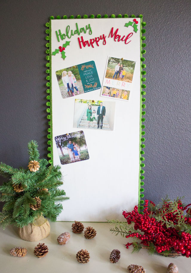 Cork bulletin board Christmas card display