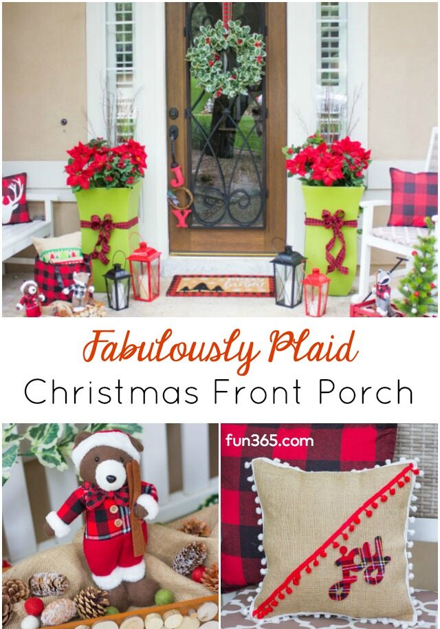Plaid Christmas Front Porch Ideas