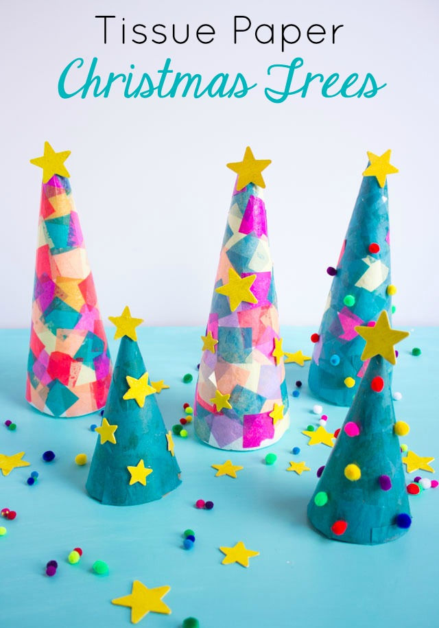 Paper Christmas Tree.Kids Week Tissue Paper Christmas Trees Design Improvised