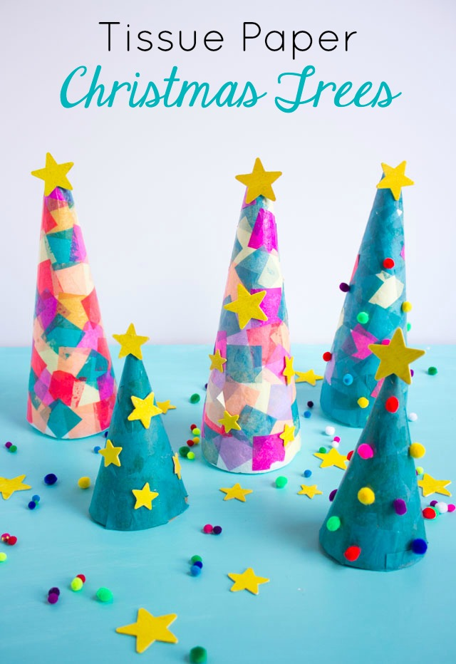 Turn foam cones into Christmas trees with tissue paper squares! #conetrees #christmastreecraft #christmascraft #foamconecraft #kidschristmascraft #modpodgecraft