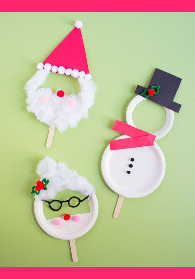 Paper Plate Christmas Crafts.Kids Week Paper Plate Christmas Masks Design Improvised