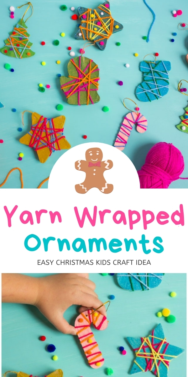 Kids Christmas Ornament Craft with Yarn