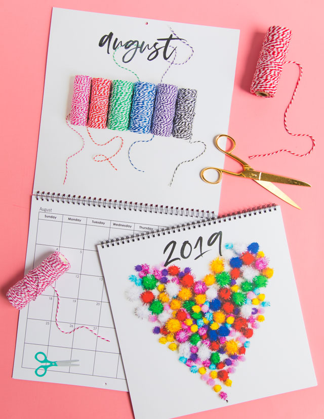 Make your own custom calendar with Mixbook! This craft supply calendar is so fun! #diycalendar #calendarprintable #craftsupplies #mixbook #2019calendar