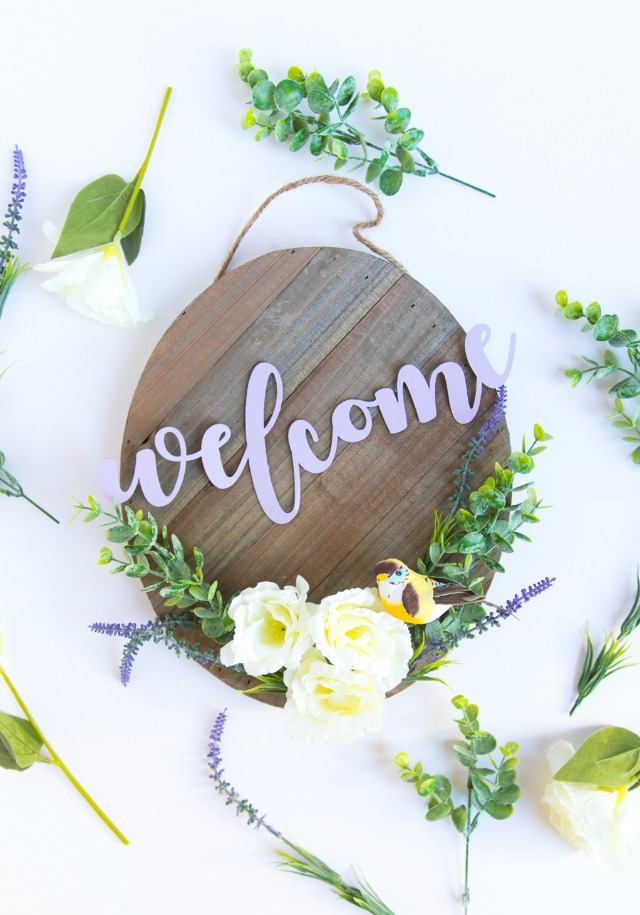 DIY spring wood welcome sign