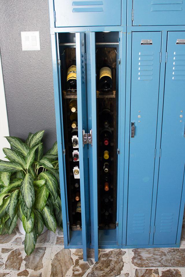 Gym locker wine storage cabinet