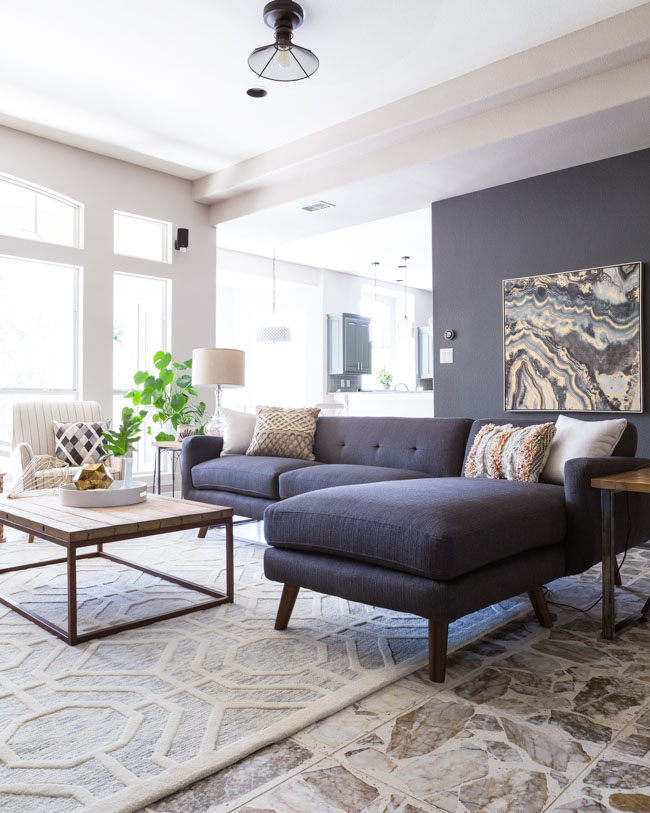 Modern living room with geode accents