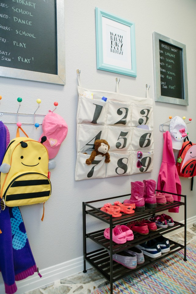 Mudroom wall for kids shoes and backpacks