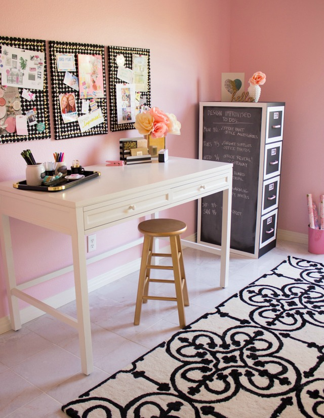 Pink craft room with black and white accents