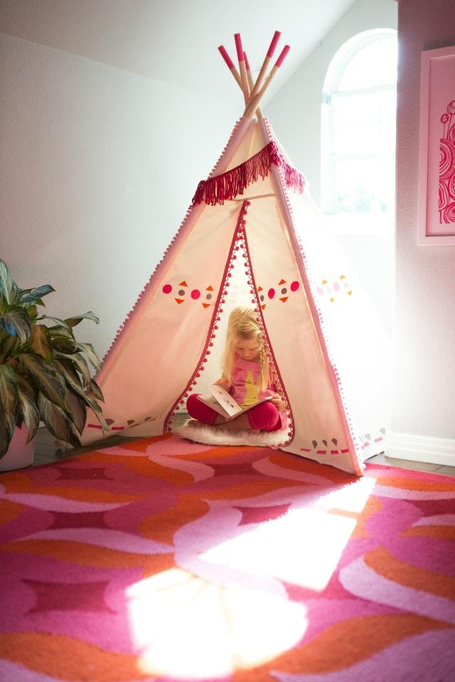 DIY stenciled kids teepee with pom-pom trim