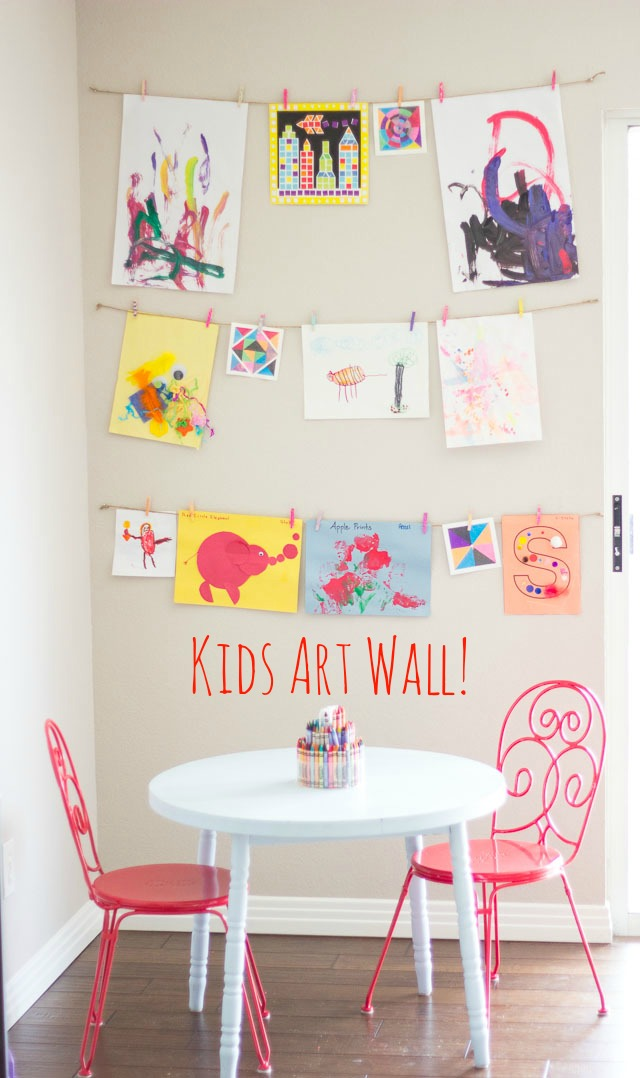 Kids art wall using twine and clothespins