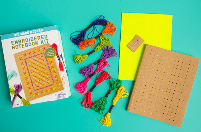 Make your own embroidered journal with this DIY notebook kit from Kid Made Modern #embroidery #kidmademodern