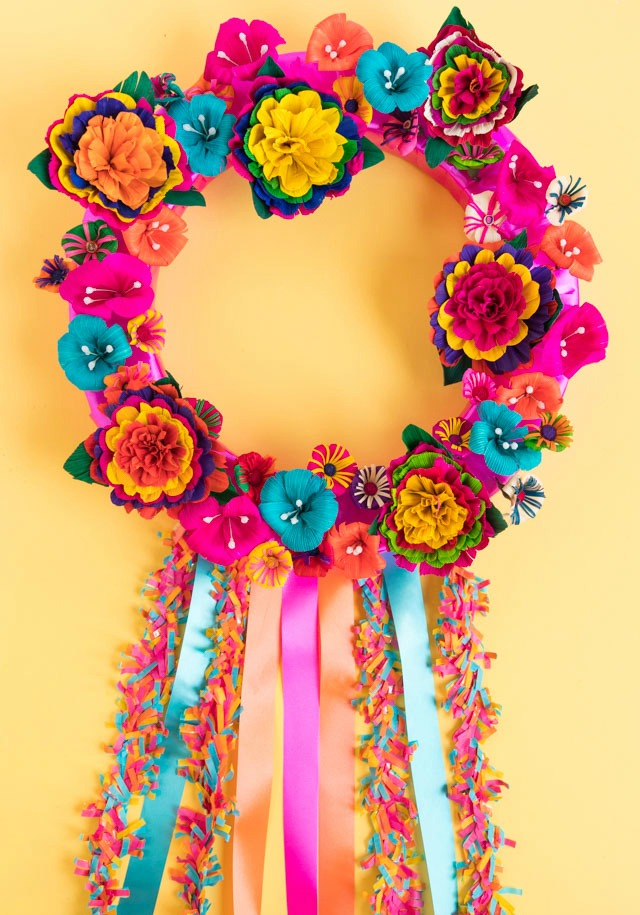 How to Make a Gorgeous Fiesta Flower Wreath