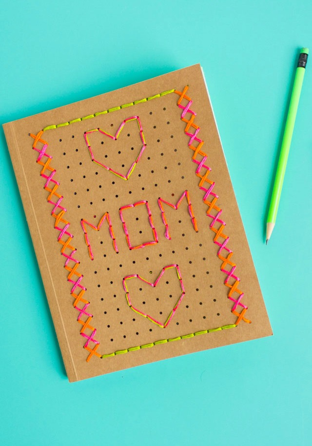 How to embroider a journal with this DIY notebook embroidery kit from Kid Made Modern #embroidery #kidmademodern