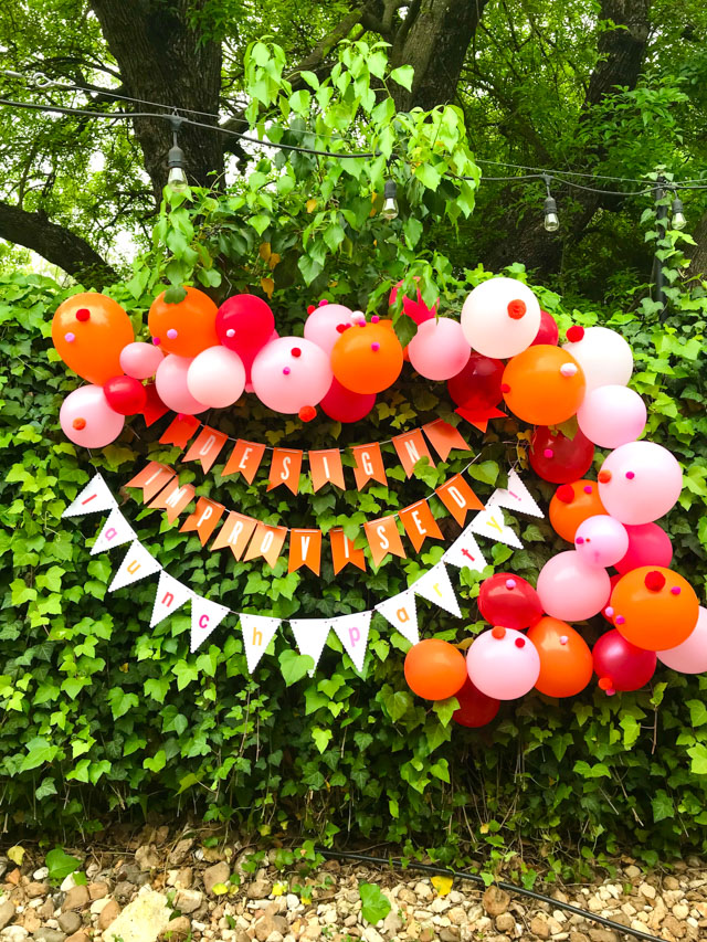 design-improvised-launch-party-balloon-garland #balloongarland #pompomballoons #launchparty