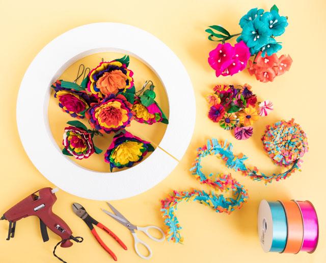 Supplies for a Mexican fiesta wreath #fiestawreath #cincodemayowreath #mexicanwreath #cornhuskflowerwreath