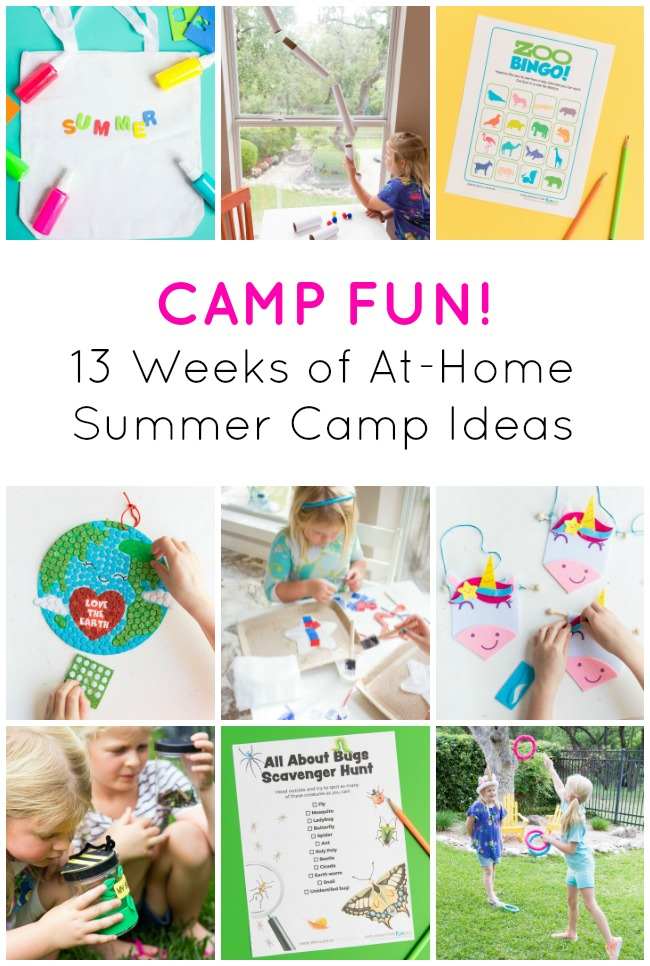 13 weeks of at home summer camp themes for kids