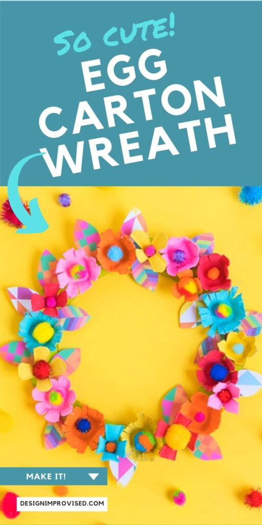 Colorful egg carton flower wreath