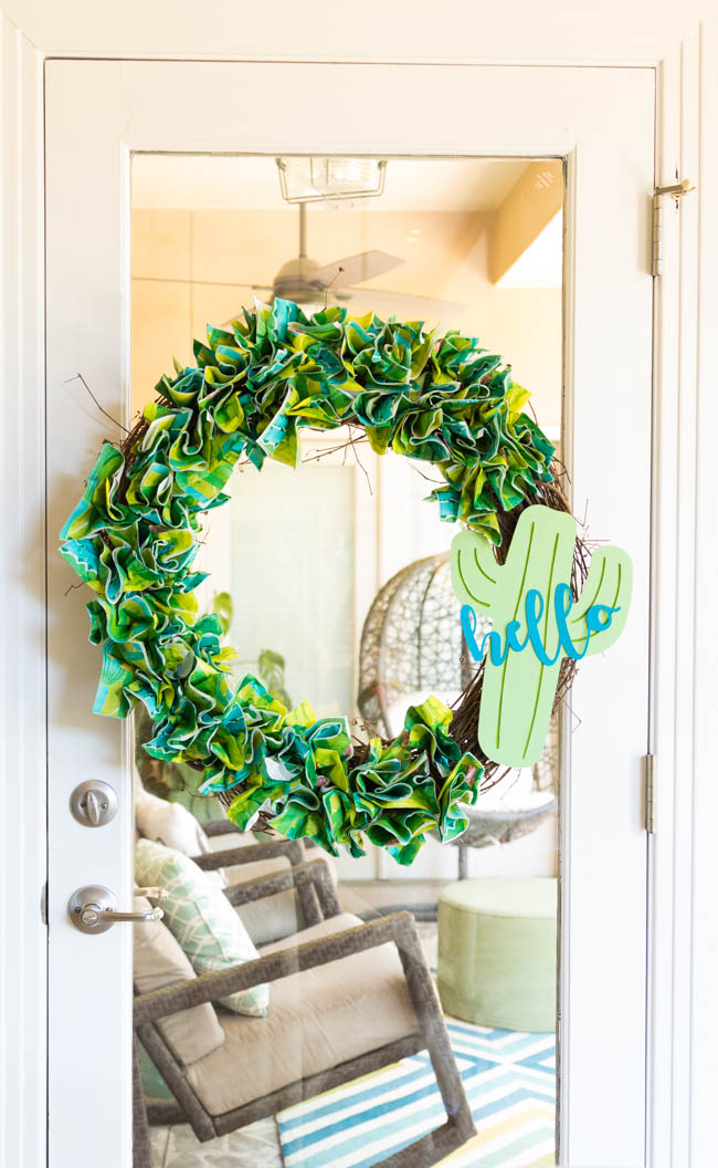 Cactus wreath made from napkins