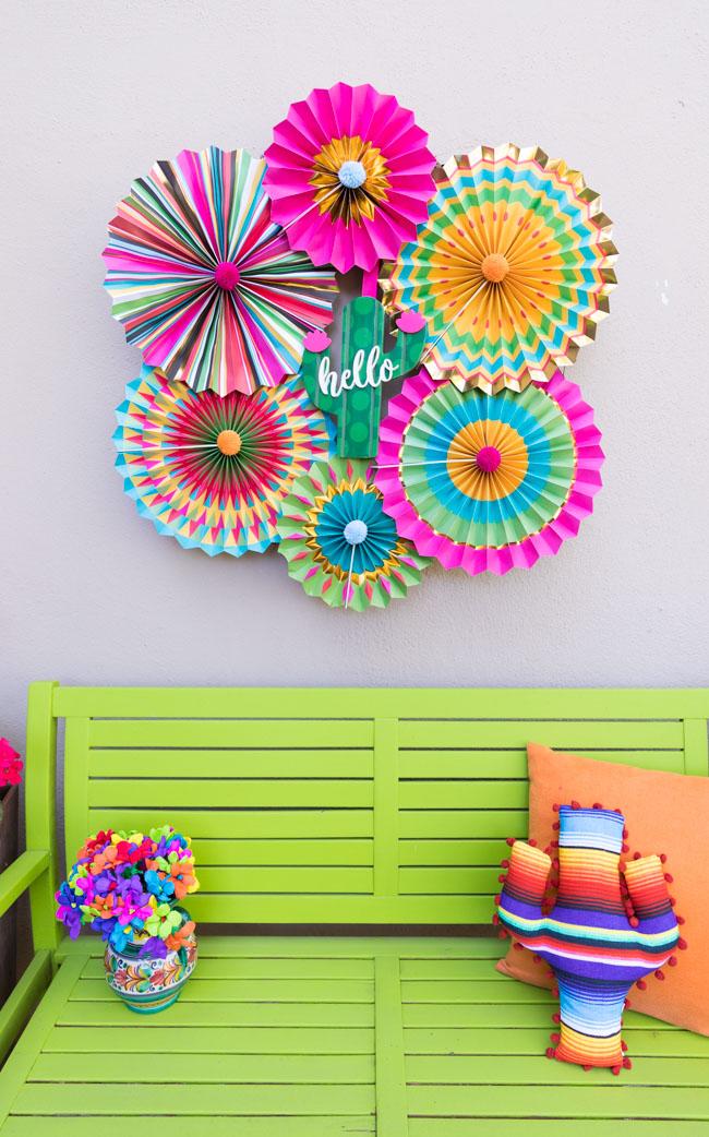 Paper fan fiesta wreath