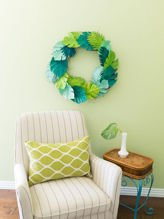 Tropical palm leaf wreath