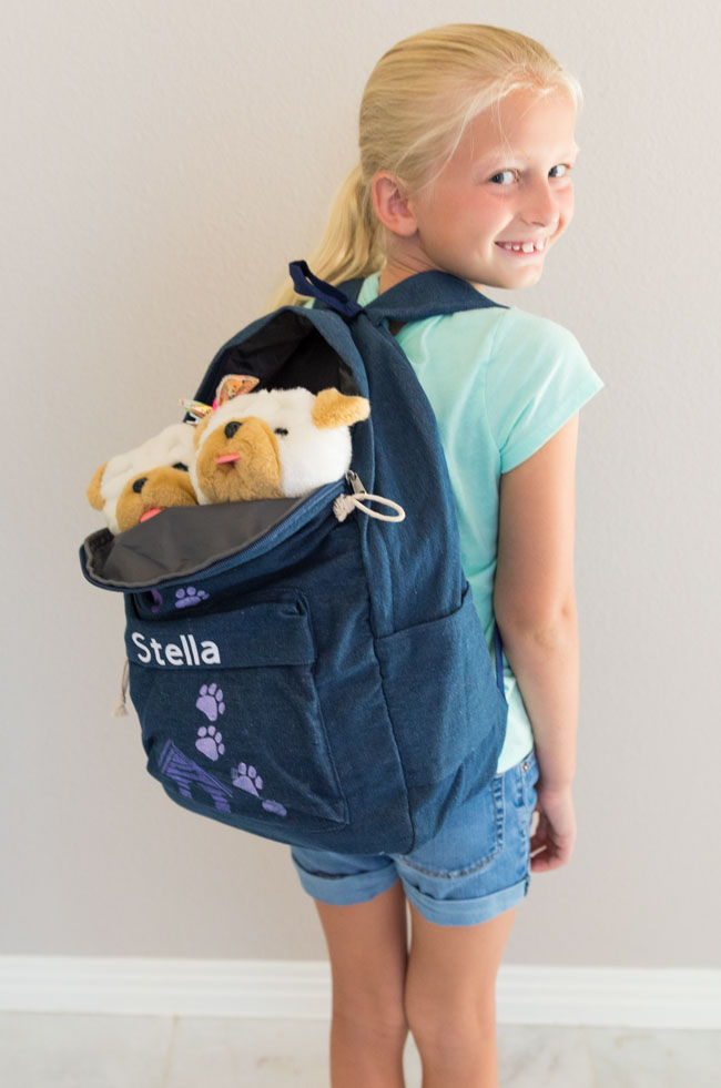 DIY kids backpack with dog design