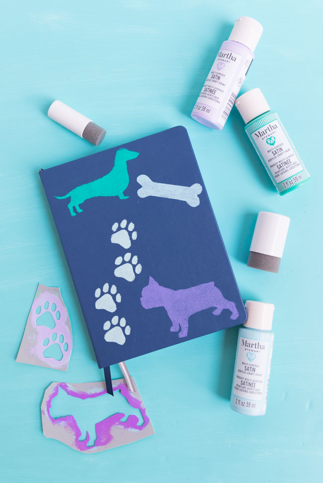 DIY decorated notebook with dog stencils
