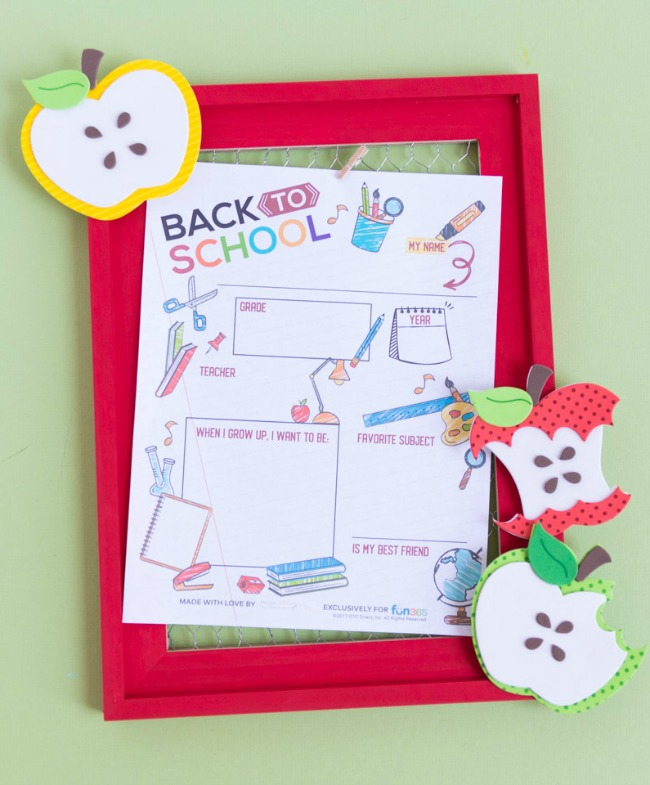 Back to school printable with apple frame