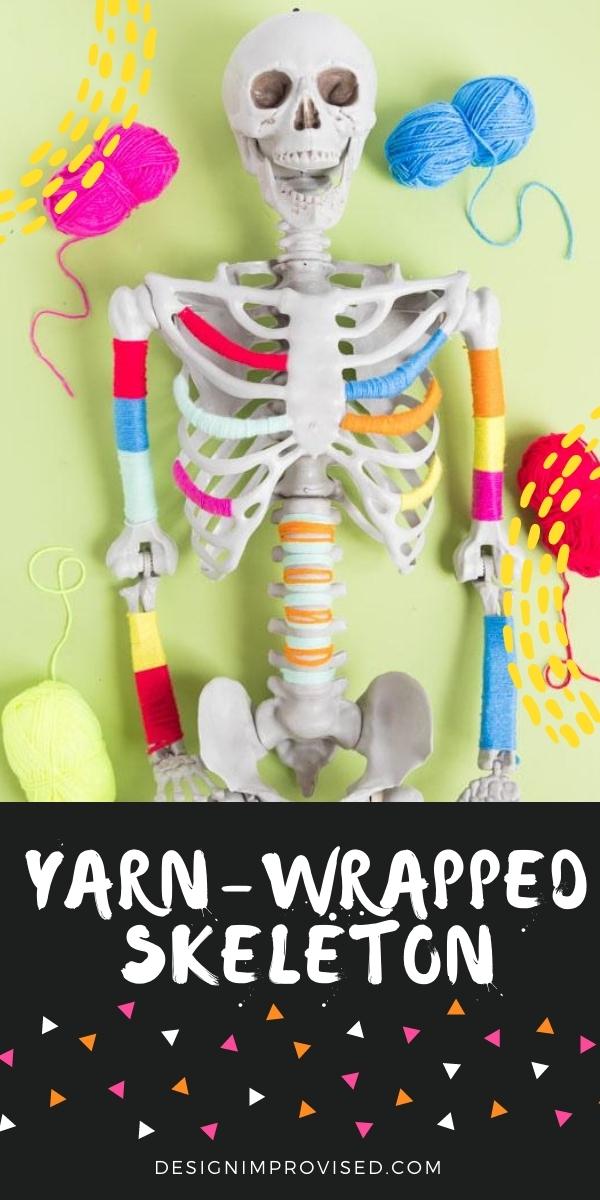 DIY Yarn Wrapped Skeleton for Halloween