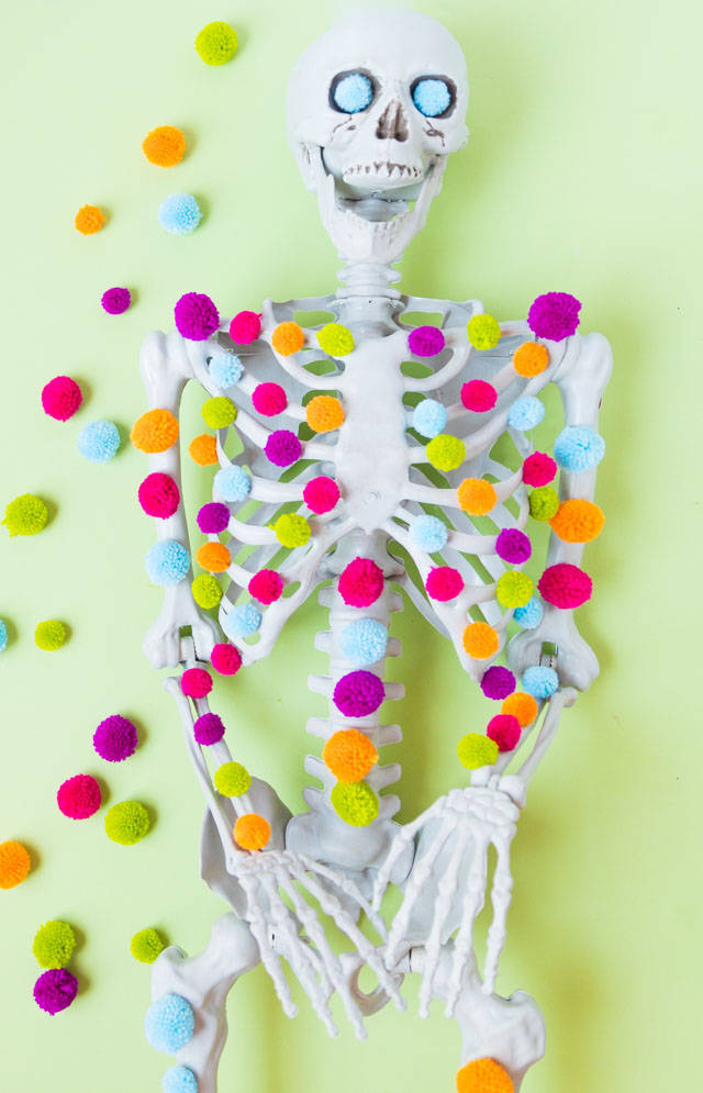 Pom-pom decorated Halloween skeleton