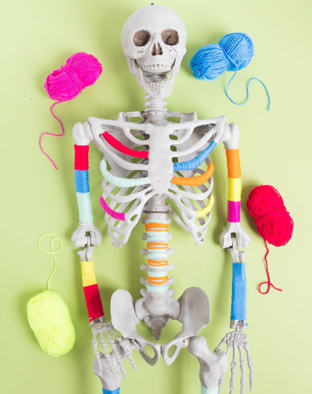 Yarn bombed Halloween skeleton