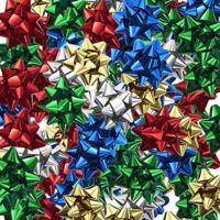 Christmas Ribbon Gift Bows Metallic, Medium, 84 Count, (Assorted Colors)