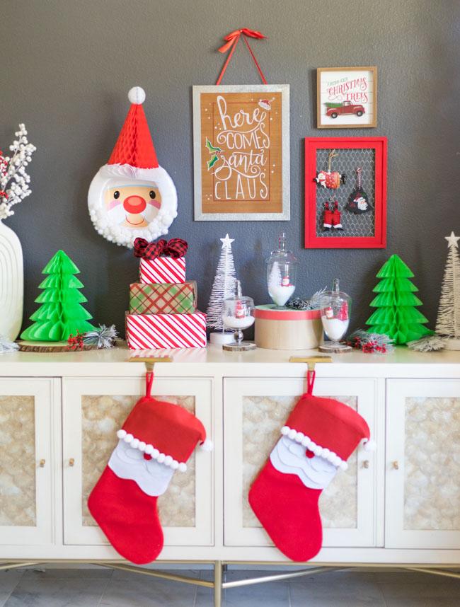 Santa themed Christmas decorations