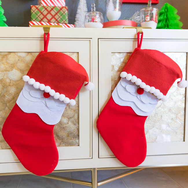 DIY Santa stockings with felt and pom-poms