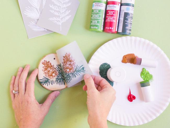 Painted Wood Slice Ornaments with Martha Stewart Stencils