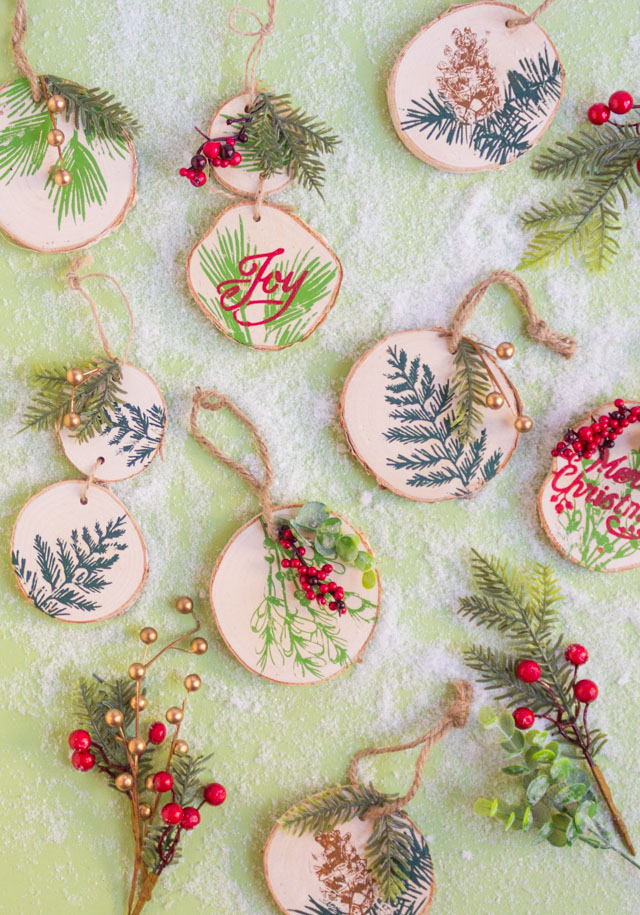 Painted Wood Slice Ornaments with Martha Stewart Stencils
