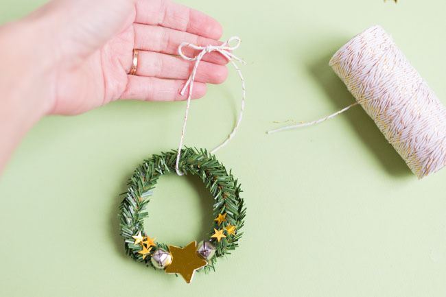 Making a hanger for a mini wreath ornament
