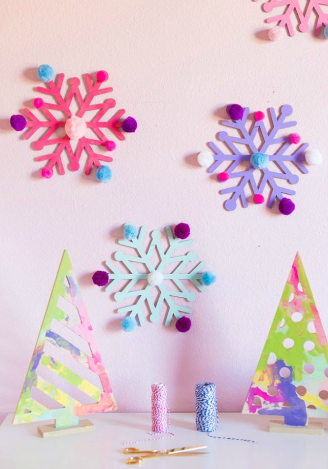 Giant Wooden Snowflakes with Pom-Poms!